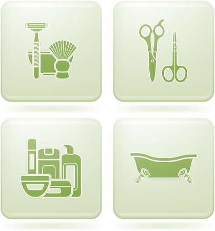 olivine: Conjunto de iconos 2D de olivino Square: cuarto de ba�o
