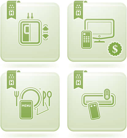Olivine 2D Squared Icons Set: Hotel Stock Vector - 6865732