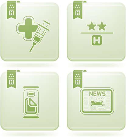 Olivine 2D Squared Icons Set: Hotel Vector