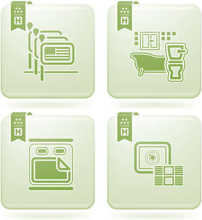 olivine: Olivino 2D al cuadrado de conjunto de iconos: Hotel