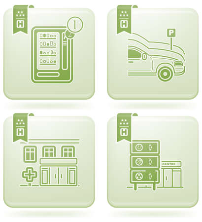 Various hotel icons Vector