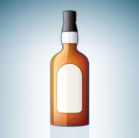 whiskey bottle: Botella de whisky (parte del set de iconos de vidrio de alcohol)  Vectores