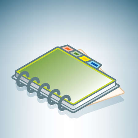 address book: Green Address Book (part of the 3D Isometric Objects Icons Set)