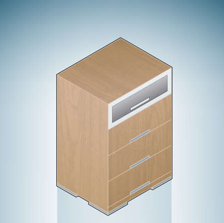 Furniture: Bedroom Chest of Drawers with Glass (part of the 3D Isometric Icons Set) Vector