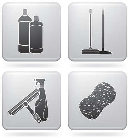 cleaning windows: Cleaning theme icons set Illustration