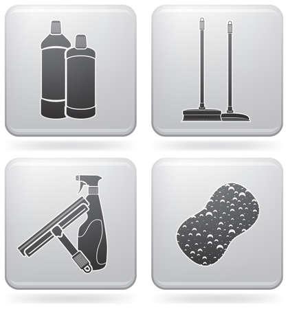 piso negro: Conjunto de iconos de tema limpieza  Vectores
