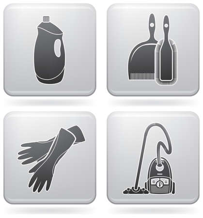 Cleaning theme icons set Illustration