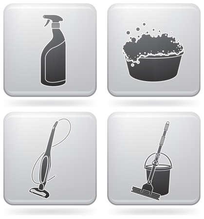 personal de limpieza: Conjunto de iconos de tema limpieza  Vectores