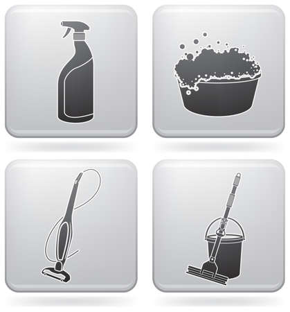 spazzatrice: Set di icone tema pulizia  Vettoriali