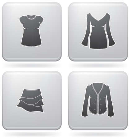 Mans Clothing theme icons set covering all things from a trousers to elegant dress. (part of Platinum Square 2D Icons Set) Vector