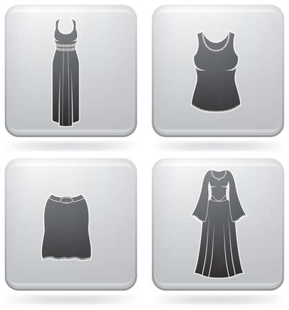 costume ball: Mans Clothing theme icons set covering all things from a trousers to elegant dress. (part of Platinum Square 2D Icons Set)