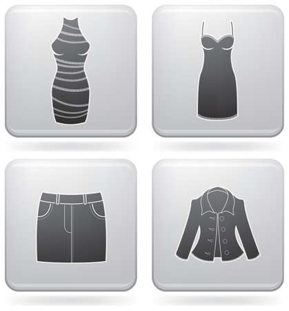 abito elegante: Mans Clothing theme icons set covering all things from a trousers to elegant dress. (part of Platinum Square 2D Icons Set)