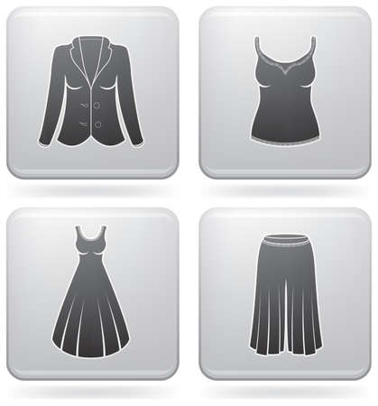 sundress: Womans Clothing theme icons set covering all things from a trousers to elegant dress. (part of Platinum Square 2D Icons Set) Illustration