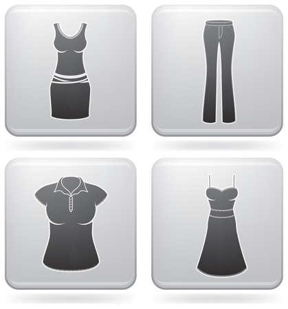 abito elegante: Abbigliamento tema icons donna set che copre tutte le cose da un pantalone di abito elegante. (parte del set di icone di Piazza Platinum 2D) Vettoriali