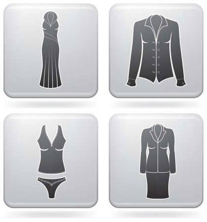undergarment: Womans Clothing theme icons set covering all things from a trousers to elegant dress. (part of Platinum Square 2D Icons Set) Illustration