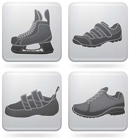 Sports footwear theme icons set Vector