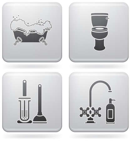 Bathroom theme icons set covering everyday objects from flush toilet to stall shower.  (part of Platinum Square 2D Icons Set)
