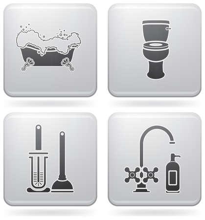 washroom: Iconos de tema de ba�o establecen cubriendo objetos cotidianos de vaciado sanitario a estancar ducha. (parte del conjunto de iconos 2D Platinum Square de)
