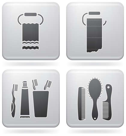 mindennapi: Bathroom theme icons set covering everyday objects from flush toilet to stall shower.  (part of Platinum Square 2D Icons Set)