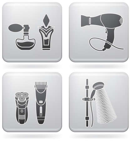 Bathroom theme icons set covering everyday objects from flush toilet to stall shower.  (part of Platinum Square 2D Icons Set) Stock Vector - 7544117