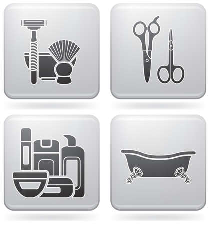 Bathroom theme icons set covering everyday objects from flush toilet to stall shower.  (part of Platinum Square 2D Icons Set) Vector