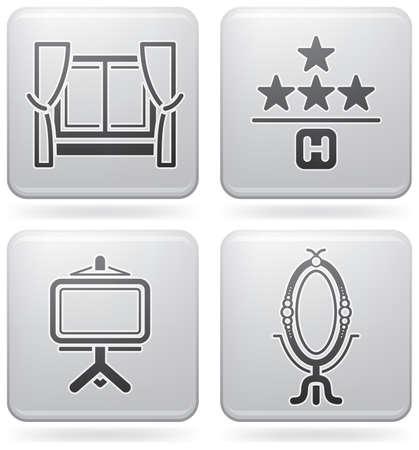 board room: Varios iconos de hotel  Vectores