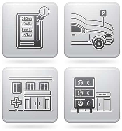 distribution automatique: Divers H�tel ic�nes  Illustration