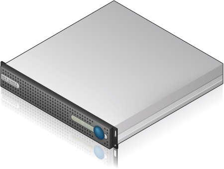Low Profile Single Server Unit Isometric 3D Icon Vector