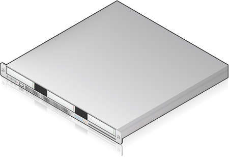 Silver Low Profile Single Server Unit Isometric 3D Icon Vector