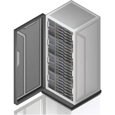 server: Icona di rete Server Rack 3D isometrico Vettoriali