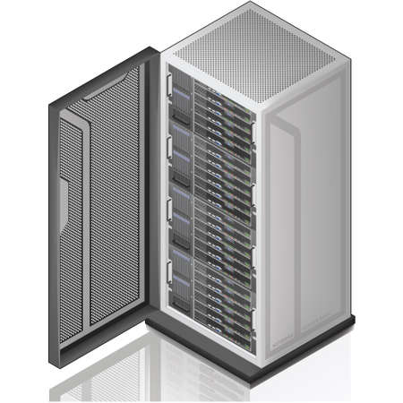 rack server: Network Server Rack Isometric 3D Icon