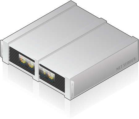 Futuristic Low Profile Single Server Unit Isometric 3D Icon Vector