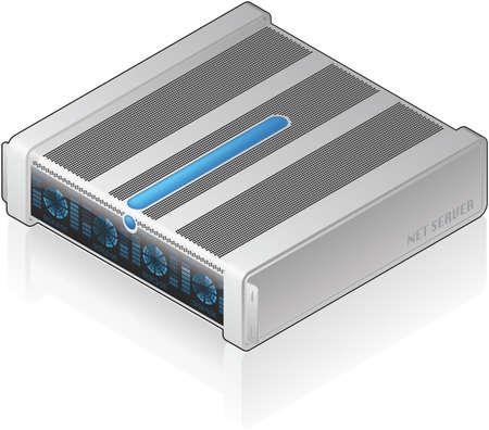 server: Icona di Server singola unit� 3D isometrico futuristico basso profilo