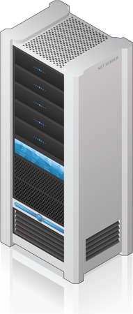 server: Futuristico icona di rete Server Rack 3D isometrico