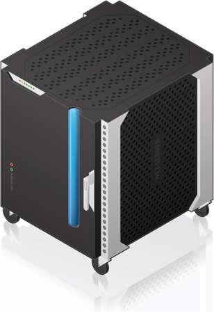 server icon: Futuristic Medium Size Single Server Rack Isometric 3D Icon