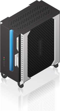 Futuristic Medium Tower Single Server Rack Isometric 3D Icon Vector