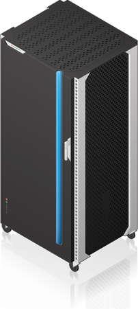 server rack: Futuristic Single Server Rack Isometric 3D Icon