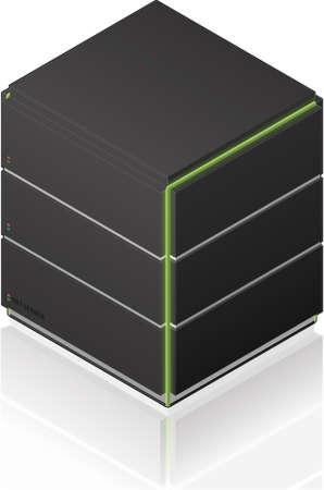 medium size: Futuristic Medium Size Single Server Rack Isometric 3D Icon