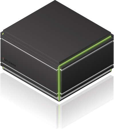 Futuristic Medium Size Single Server Rack Isometric 3D Icon Vector