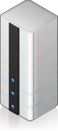 server: Icona singolo Server Rack 3D isometrico futuristica grande dimensione