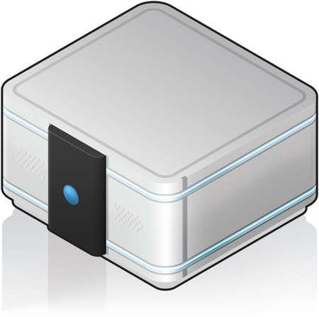 small size: Futurista peque�o tama�o �nico servidor Rack 3D isom�trico icono Vectores