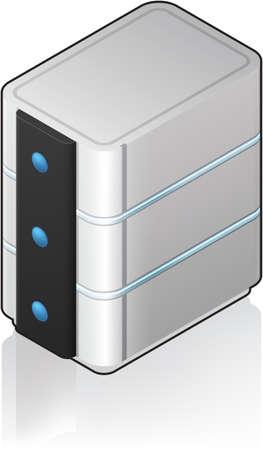 server: Icona a torre 3D isometrico Server futuristico Vettoriali