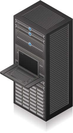 Single Server Rack Isometric 3D Icon Stock Vector - 8773872