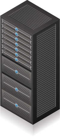 Single Server Rack Isometric 3D Icon Vector
