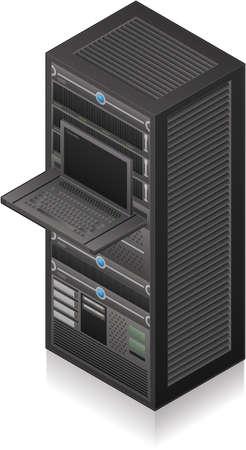 Single Server Rack Isometric 3D Icon Stock Vector - 8773879