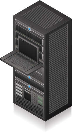 rack server: Single Server Rack Isometric 3D Icon