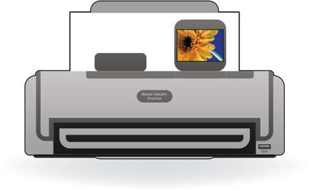 photo printer: Color Photo InkJet Printer Front View Illustration