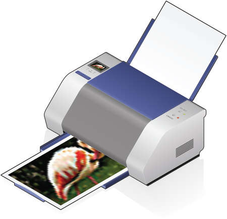 3D Isometric Color Photo InkJet Printer Vector