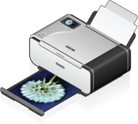 inkjet: 3D isom�trico impresora fotogr�fica en Color de inyecci�n de tinta Vectores
