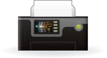 Color Photo InkJet Printer Front View Vector